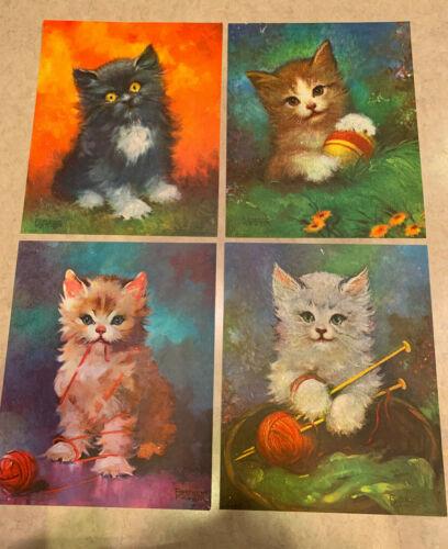 Vintage 1960s Lot of 4 FLORENCE KROGER Kitten Cat Prints Lithographs 9x11