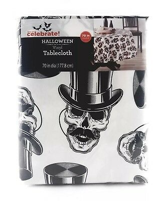 NEW Way To Celebrate Halloween Vinyl Tablecloth Skeletons Skull 70 in. Round - Round Halloween Tablecloth