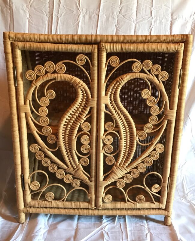 Vintage Peacock Wicker Rattan Cabinet With Shelves And Doors Natural Color