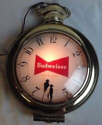 Vtg Budweiser Beer Lighted Sign Synchron Pocket Watch Wall Clock WORKS