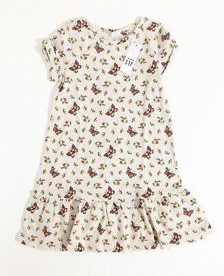 Gap Kids Girls Oatmeal With Multicolor Butterfly Print  Peplum Dress 4 yrs - Butterfly Dress Kids