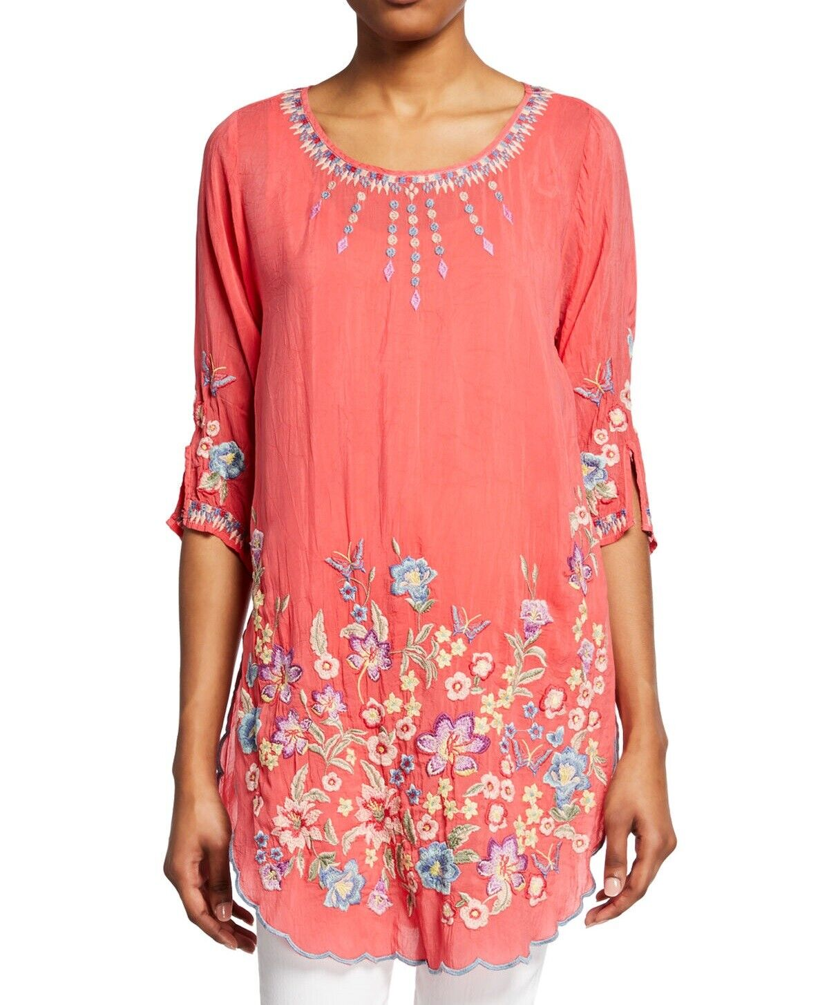 c07a29316 Johnny Was Marin Floral Embroidered Scoop-Neck Half Sleeve Tunic - C23819-2