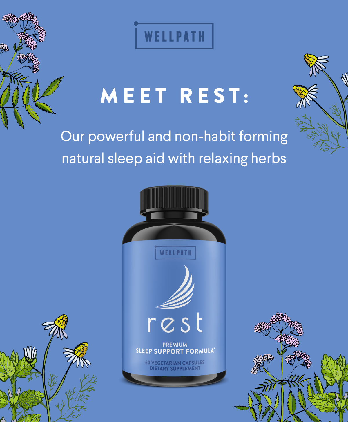New Wellpath Rest Natural Sleep Aid for Adults- Natural Slee