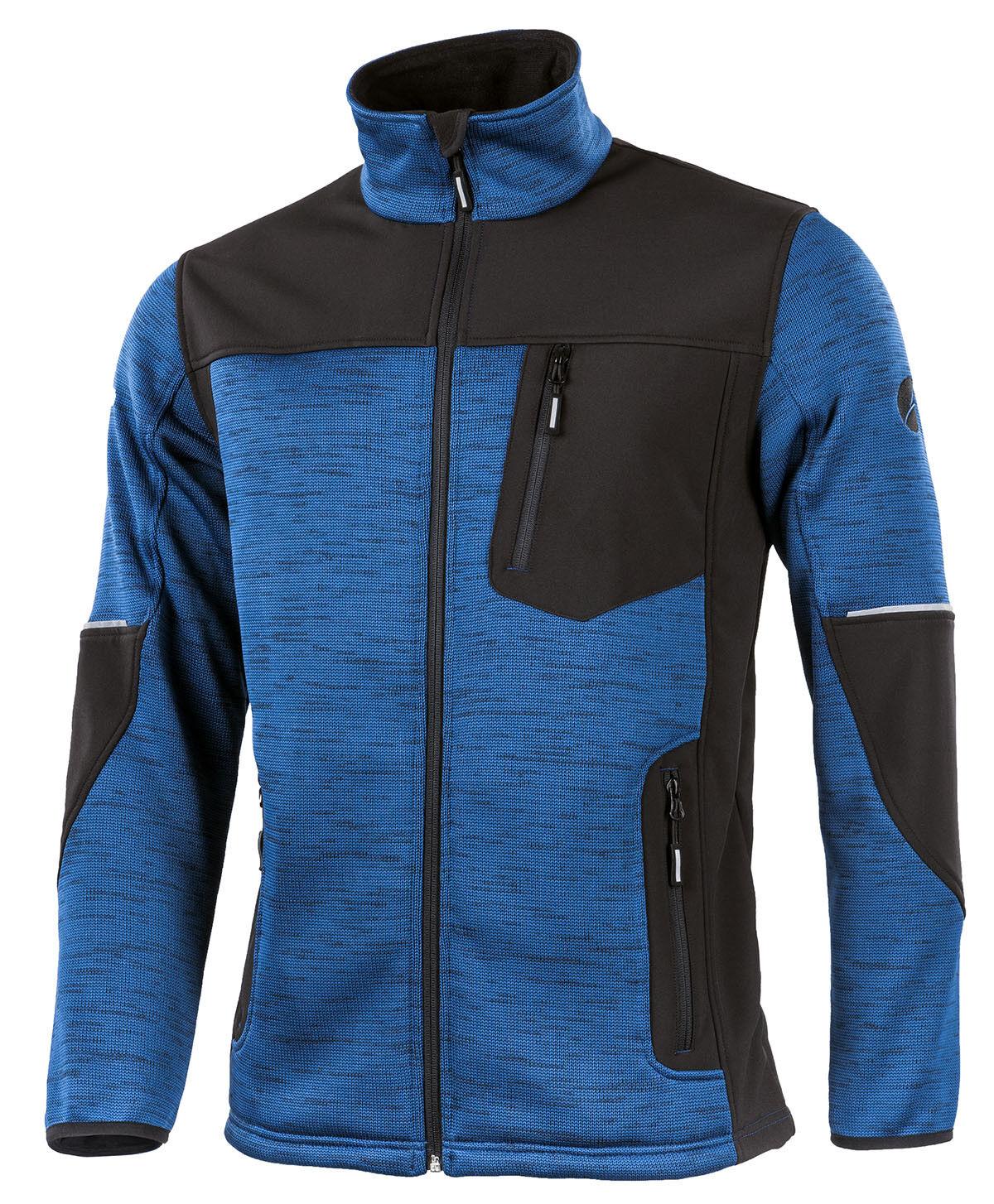 Strickjacke MAXWELL mit modischem Softshell-Besatz - blau/schwarz