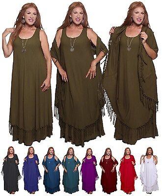 Magic Wrap Kleid (Boho Moroccan Magic Maxi Dress - Wrap Jacket Fringe - LotusTraders Plus V828)