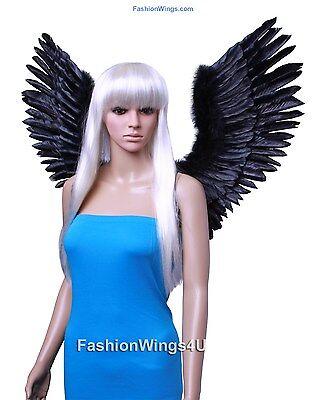FashionWings Black Open Swing V Shape Costume Feather Angel Wings Adult Unisex