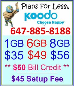 Koodo 6Gb 8GB LTE Data Canada talk text plan + $50 BONUS