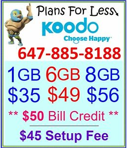 Koodo 1/6/8 GB LTE data plan UNLIMITED talk text + $50 bonus