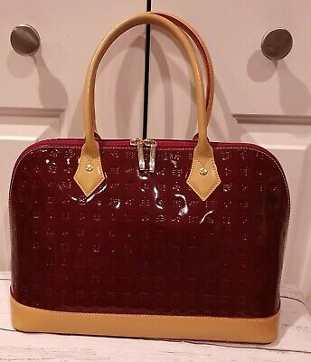 Arcadia Made in Italy APPLE RED Patent Leather Large Purse Hand Bag MINT