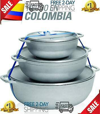IMUSA USA R200-CALDERO22C Traditional Colombian Natural Caldero Set 3-Piece Oven