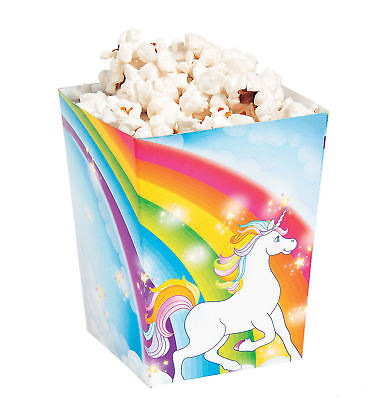 Party Favor Popcorn Boxes (24 Unicorn Popcorn Boxes Candy Treat Goody Rainbow Kid's Birthday Party Favors)