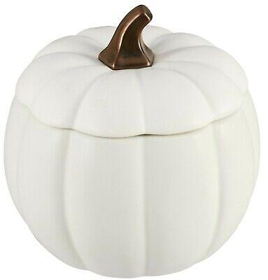 Autumn Fall Halloween Ceramic Large Cream White Pumpkin Cookie Jar Canister NEW