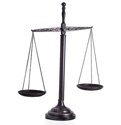 "LAWYERS & LEGAL - SCALES OF JUSTICE SCULPTURE ON WOODEN BASE - 21.5""H"