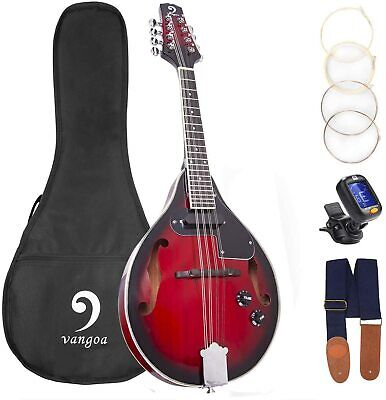 Vangoa A Style 8-String Acoustic Electric Mandolin Sunset Red Mandolin w/Bag