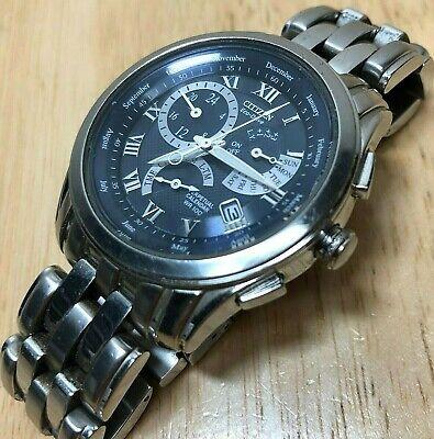 Citizen Eco-Drive E970 Men 100m Steel Chronograph Analog Quartz Watch Hours~Date