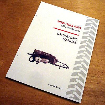 New Holland 278 Baler Hayliner Operators Owners Book Guide Manual Nh
