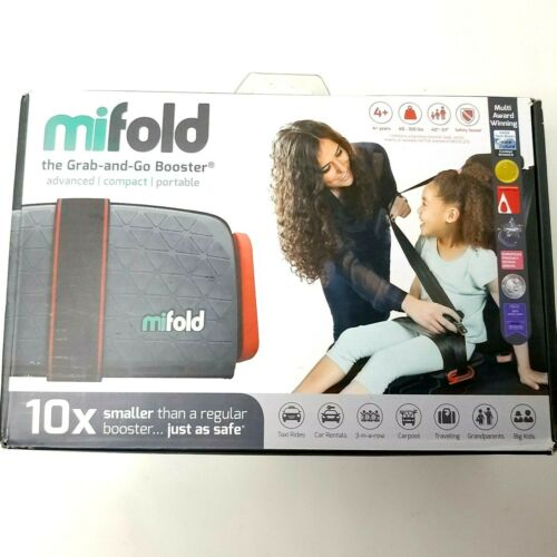 Mifold Grab and Go Car Booster Seat Slate Grey 4+ Yrs 40-100 lbs Open Box