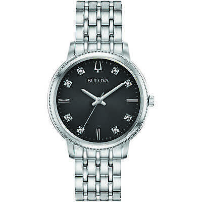 Bulova Women's Quartz Diamond Accents Silver-Tone Bracelet 32mm Watch 96P205