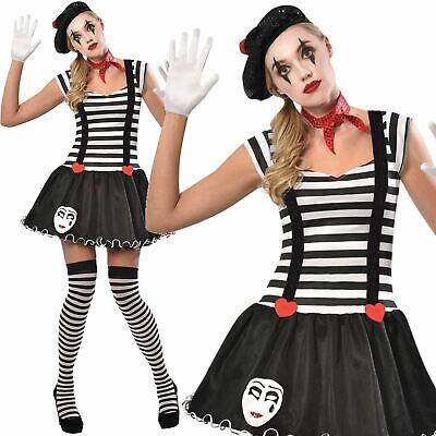 Adults Ladies Miss Mime Artist Street Circus Carnival French Fancy Dress - Street Mime Kostüm