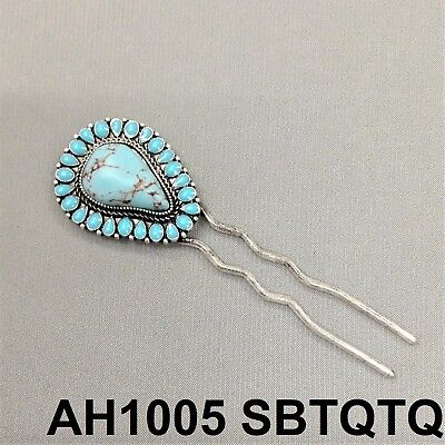 Gemstone Hair Pin - Western Style Antique Silver Finish Natural Turquoise Stone In Hair Clip Pin