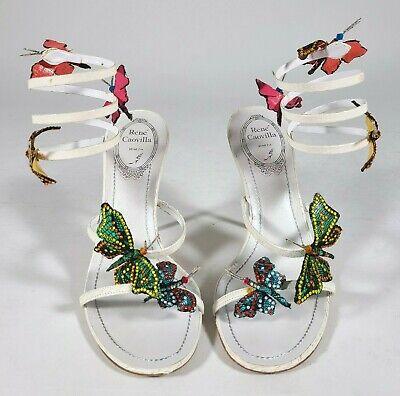 RENE CAOVILLA White Butterfly Wrap Sandals