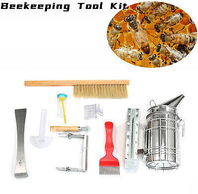 9 Pack Beekeeping Supplies Tools With Stainless Steel Bee Hive Smoker Equipment