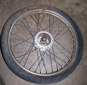 FRONT WHEEL  TAKEN OFF PUCH MOPED YEAR UNKNOWN