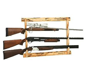 Wooden 3 Gun Wall Rack Storage Shotgun Rifle Sports
