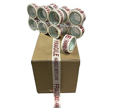 12 Rolls Fragile Carton Packing Sealing Tape 2 Inch X 55 Yards- 165 Ft Ea Roll