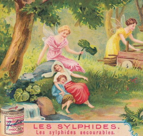 Vintage Forest Fairy Family Bliss Nymph Sylphide old Liebig Victorian Trade Card