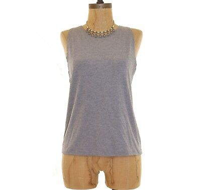 - Topshop Kim Tank Top Size 12 RIbbed Knit Jersey Slim Fit Sleeveless Gray  B26