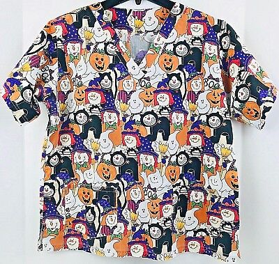 Large HALLOWEEN Pattern CAT PUMPKIN GHOST Nurse Medical Scrub Top Size L - Large Halloween Pumpkin Patterns