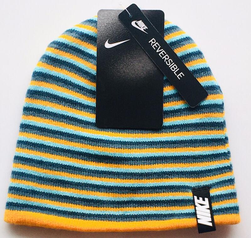 Nike Beanie Hat Reversible Youth Boys Girls 2 Styles Orange, Blue & Grey OS