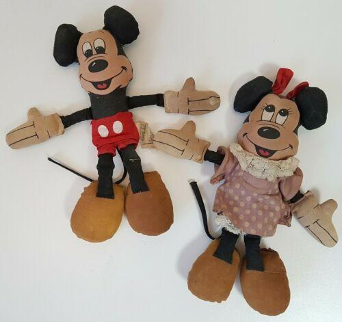 "Mickey Minnie Mouse Rag Dolls Vintage Walt Disney Productions Stuffed Toys 8"""