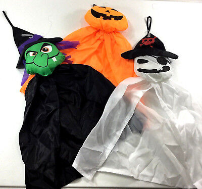 Halloween Wind Socks Pumpkin Pirate  Ghost Witch 18 Inch  Set of - Halloween Windsock