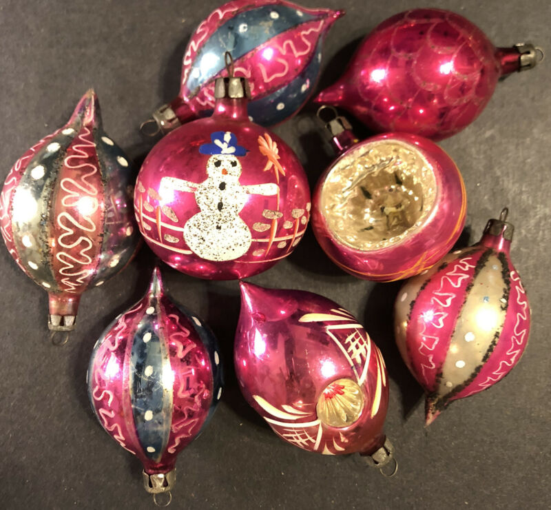 VINTAGE Lot of 8 Blown Glass Reflector Glitter Design Christmas Ornaments Poland