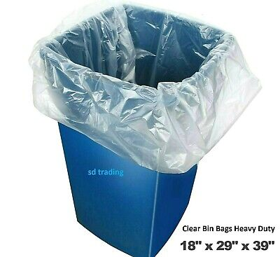 50 Clear Bin Liners Bags Refuse Sacks Heavy Duty Rubbish Waste Bags 160g