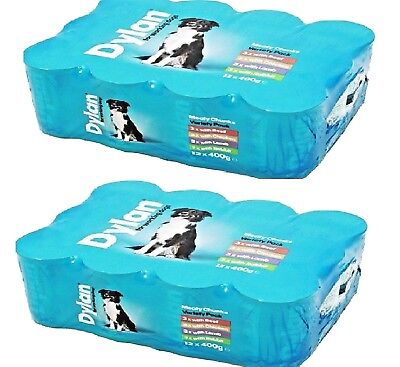 DYLAN VARIETY x24 - 400g (12pack x2) - Wet Dog Food Canned Feed bp Tin Meal vf