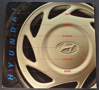 1992 Hyundai Catalog Brochure Sonata Elantra Scoupe Excel Excellent Original 92