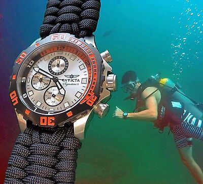 NEW! Invicta Chronograph w/ Handmade EXTRA WIDE Paracord 550 Watch Band 7334