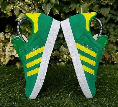 BNWB & Genuine Adidas Originals ® Gazelle Green Yellow Suede Trainers UK Size 8