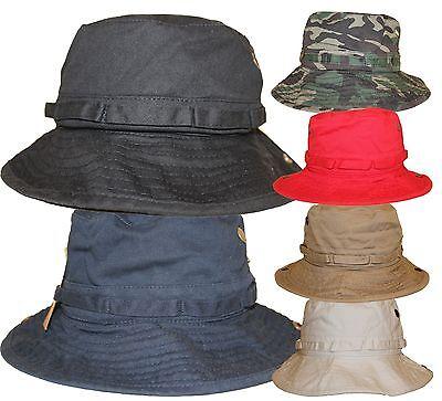 100% Cotton Summer Bucket Fisherman Packable Cap Hat Adjustable Loop Chin Strap Packable Bucket