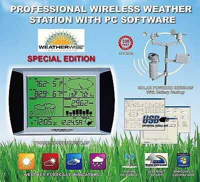 PRO HOME WIRELESS WEATHER STATION BAROMETER w/WIND SPEED METER ANEMOMETER SENSOR