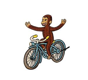 Curious George On Bike Monkey Embroidered Iron On TV Show Applique Patch CG3