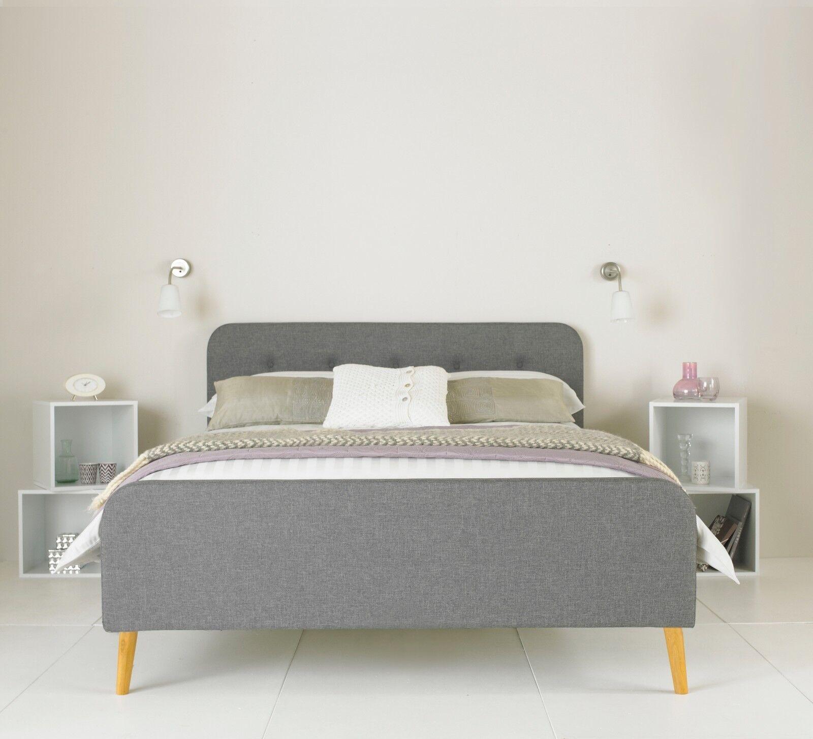 Fabric Bed Frame Retro Style Grey Padded Headboard Various Sizes Ebay