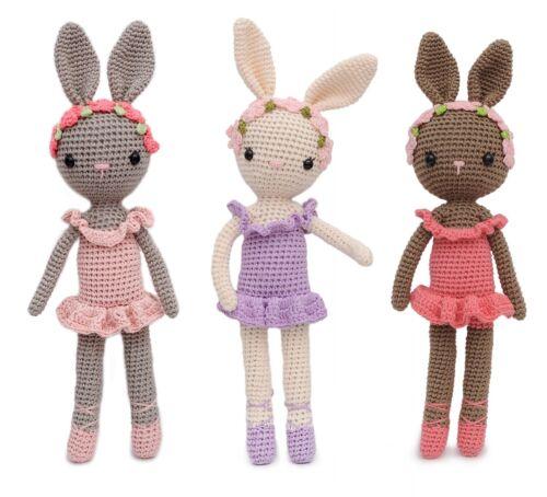 Ballerina Bunny Rabbit Charlotte Hand Knitted Stuffed Toy Crochet Doll Amigurumi