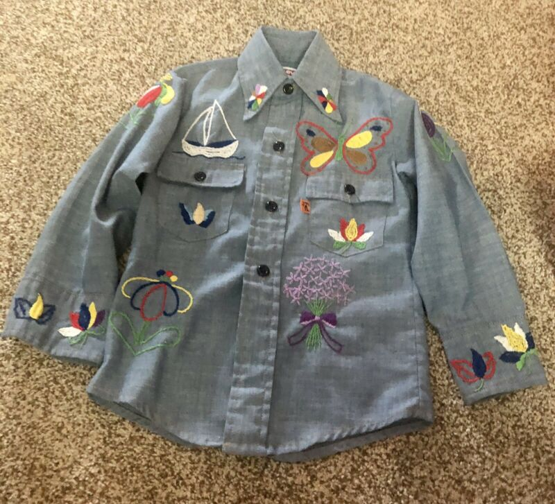 Levis Vintage 1970s Kids 5 Embroidered Button Down Shirt