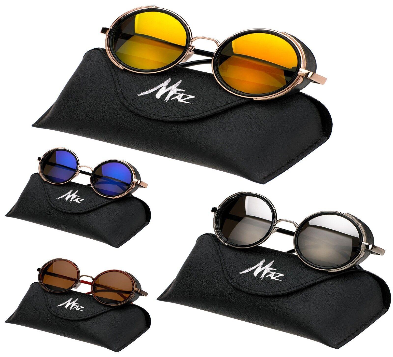 Unisex Runde Sonnenbrille Steampunk Brillen Gespiegelt Cyber Kiste, Koffer Stoff