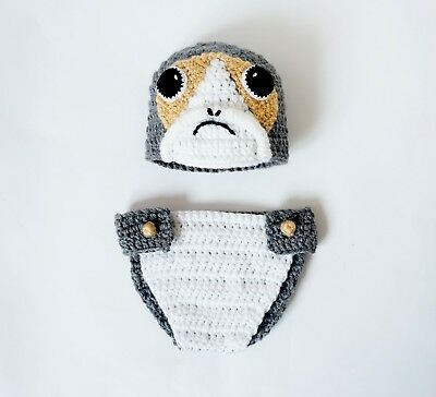 Star Wars Costumes For Babies (Porg Baby Hat and Diaper Cover Costume From Star Wars For Girl - Premie,)