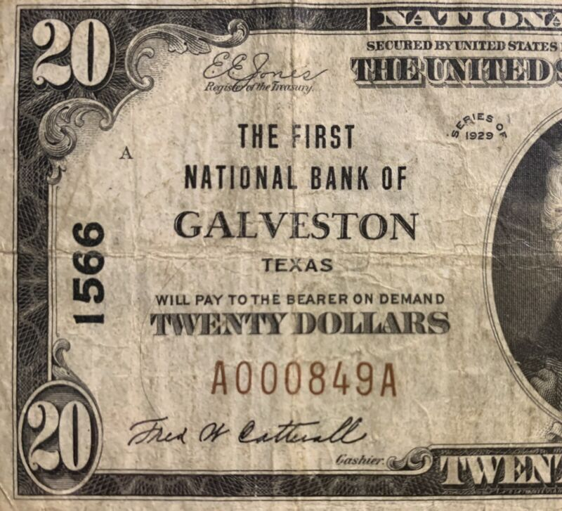 The First NB of Galveston, Texas TX $20 Ty. 1 1929